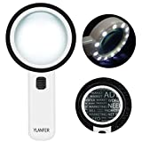 30X Handheld Lighted Magnifier, Extra Clear Double Optical Glass Lens 12 LED Lights Illuminated Magnifier for Seniors Reading, Coins, Stamps, Map,Jewelry, Inspection