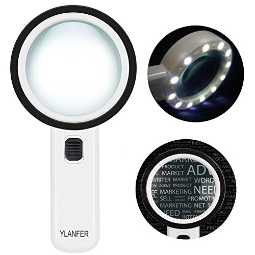 30X Handheld Lighted Magnifier, Extra Clear Double Optical Glass Lens 12 LED Lights Illuminated Magnifier for Seniors Reading, Coins, Stamps, Map,Jewelry, Inspection by Ylanfer
