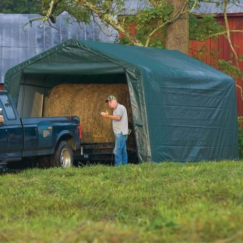 24' Storage (ShelterLogic Peak Style Garage/Storage Shelter - Green, 24ft.L x 12ft.W x 8ft.H, Model# 72444)