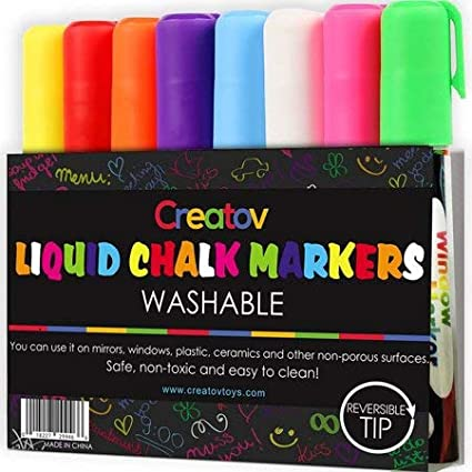 Erasable Liquid Chalk Window Markers - 8 Pack Erasable Pens Great for Chalkboards & Glass Non Toxic Safe & Easy to Use Washable Wet Dry Erase Marker Neon Bright Vibrant Colors Pen for Kids & Adult Creatov® 4336946848