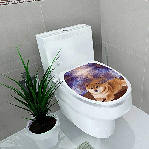 (Home Decoration Japanese Traditional Shiba Inu Dog Cute Young Funny Pet Ethnic Tribal Bohemian Hippie IndianYoga Man Toilet Cover Stickers W11 x L13)