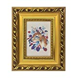 5 x 5 photo frame - SUNNYPEAK 3.5x5 Dark Gold Retro Hard Plaster Pattern Wood Picture Photo Poster Print Art Frame Made to Display 3.5x5 Picture, Table Top and Wall Mounting Material Included