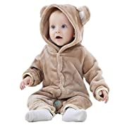 Michley Baby Girls Boys Romper Bear Style Jumpsuit Autumn & Winter Cosplay Clothes, Brown, 80cm-(6-12months)