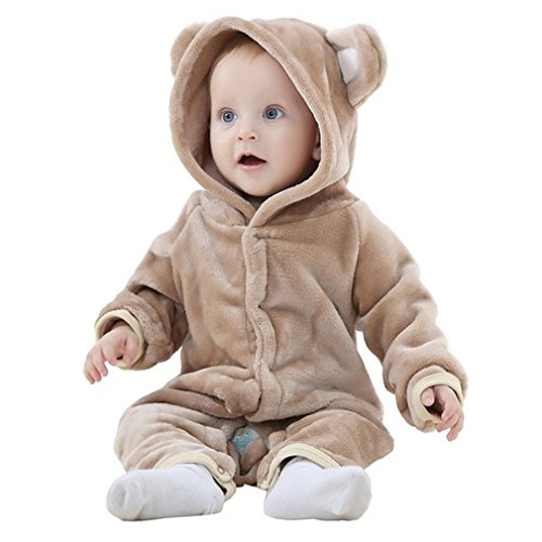 [MICHLEY Baby Girls Boys Romper Bear Style Jumpsuit Autumn & Winter Cosplay Clothes Brown-80] (3 Bears Halloween Costumes)