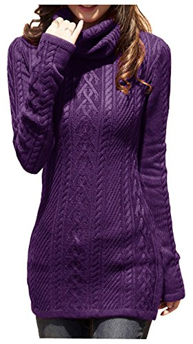Knit Stretchable Elasticity Long Sleeve Slim Sweater Jumper (US Size 6-10, Purple) ()