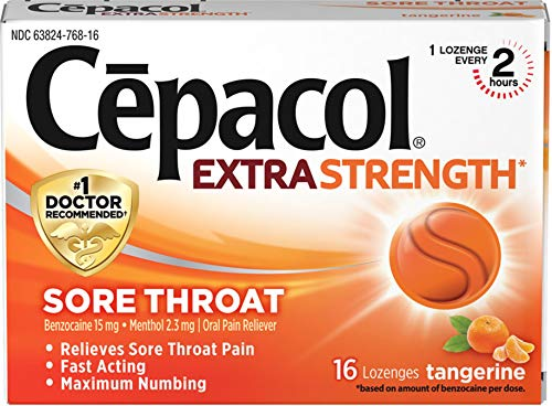 Cepacol Extra Strength Lozenges with Benzocaine & Menthol, Sore Throat, Sore Mouth, Pain Relief, Tangerine Cough Drops, 16Count (Best Numbing Cough Drops)