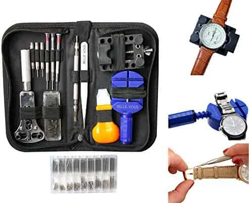 294 Pieces Professional Watch Repair Tool Kit with Case by Belle Vous - Watchmaker tools - Link Remover, Watch Pins, Changing Watch Battery, Back Case Opener, Watch Band Link Pin, Spring Bar Tool Set