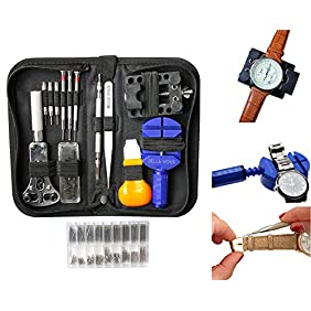 294 Pieces Professional Watch Repair Tool Kit with Case by Belle Vous - Watchmaker tool - Link Remover, Watch Pins, Changing Watch Battery, Back Case Opener, Spring Bar Tool Set - Friendship Day Gift