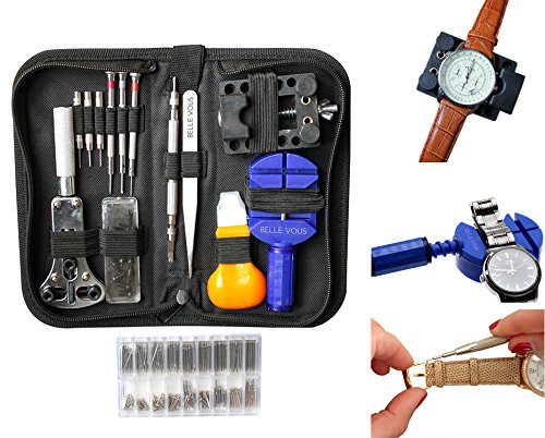 294 Pieces Watch Repair Tool Kit with Case by Belle Vous - Watchmaker tools - Link Remover, Watch Pins, Watch Making Kit, Back Case Opener, Watch Band Link Pin, Spring Bar Tool - Christmas Gift (Remove Part)