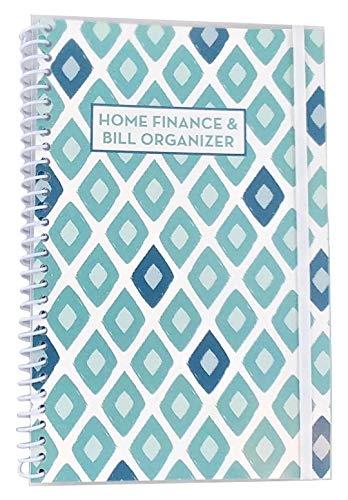 Home Finance & Bill Organizer with Pockets (Blue Painted Diamonds) (Bill Pocket Organizer)