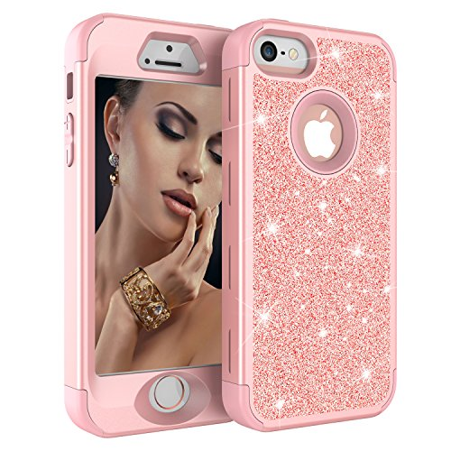 iPhone 5S Case, iPhone 5 Case, iPhone SE Case, Asstar Luxury Glitter Sparkle Bling Hard PC Soft Silicone Shockproof Anti-Scratch Full Body Protective Case Cover for Apple iPhone 5 5S SE (Rose Gold)