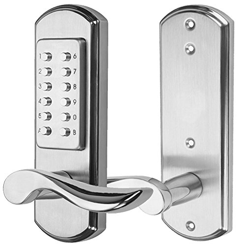Right Handed Keyless Mechanical Door Lock Digital Code Security Keypad Entry Combination Door Handle Locks Stainless Steel 304 -NOT a Deadbolt and Only Fits Single Bore Door by MINGSUO (Image #1)