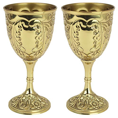 Design Toscano The King's Royal Chalice Cup, 6 Inch, Set of Two, Embossed Brass, - Elegant Brass Cup