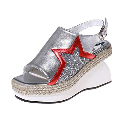 ENMAYER Womens Sequins Glitter überstreifen Schnall Quadratische Zehe Schuhe Für keilabsatz Sommer Beiläufige Art und Weise Sandalen Silber#2