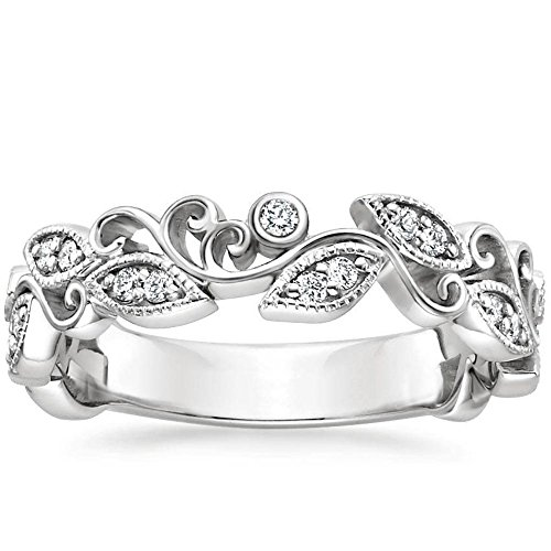 Pretty Jewellery Leaf Half Milgrain Eternity Wedding Band Ring in 14K White Gold Fn S925 W/ Sim Diamond (6)