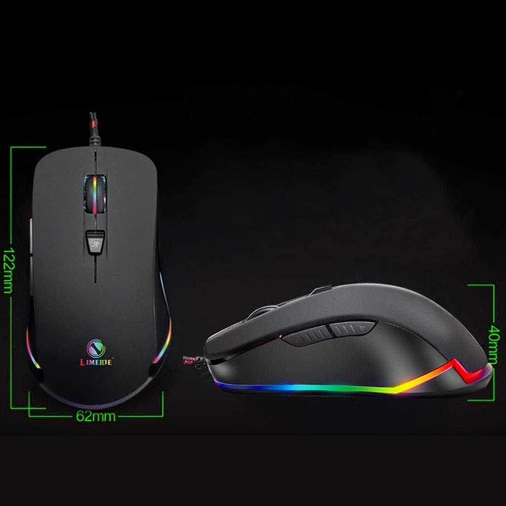 SLM-max USB Wired Gaming Mouse Esports Ergonomic Design 1600DPI Adjustable RGB Backlight Function 3 Buttons,White