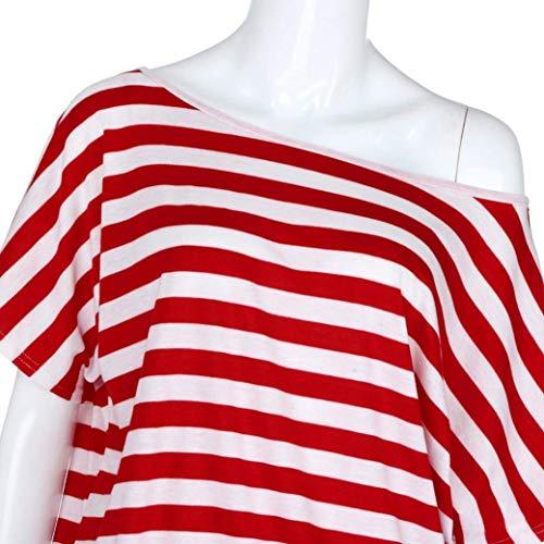 di Stlie Eleganti Outdoor Shoulder Senza Camicia Manica Spalla Stripe Grazioso Rot Corta Tops Casual di Moda One Camicetta Estivi Parola Moda Pullover Spalline Donna aBZqBd