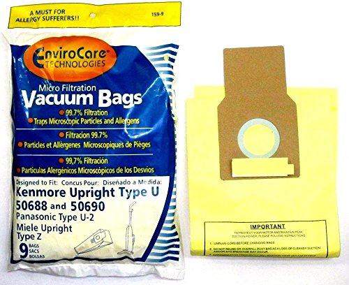 Vacuum Cleaner Bags 9 Kenmore Upright 50688 and 50690 Panasonic Type U-2 Vacuum Bags Microfiltration (Vacume Cleaner Bags U compare prices)