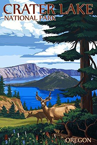 Crater Lake National Park, Oregon - Deer Family (9x12 Art Print, Wall Decor Travel Poster) - Oregon Vintage Travel Poster
