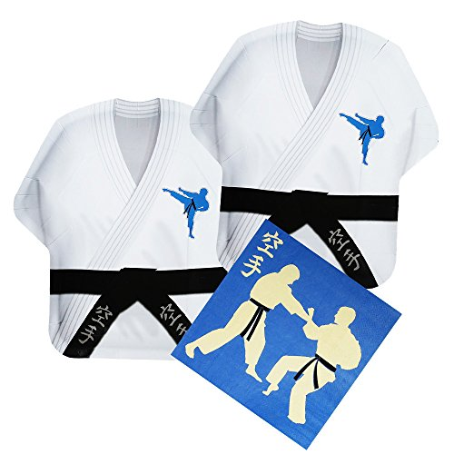 - Karate Shaped Plate & Napkin Sets (35+ Pieces for 16 Guests!), Martial Arts Party Supplies, Karate Gi Tableware Sets, Birthday Decorations
