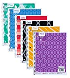 Mead Spiral Notebooks, 1 Subject, College Ruled, 7-1/2'' x 10-1/2'', Fashion, Assorted Designs, 6 Pack (73843)
