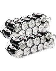 "Greenco Refrigerator and Freezer Drink Holder Storage Bin, 13.5""x 5.5""x 3.75"", Clear-(2 Pack)"