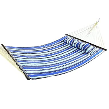 Sunnydaze 2 Person Double Hammock with Spreader Bar, Quilted Fabric Bed - For Outdoor Patio, Porch, and Yard (Catalina Beach)