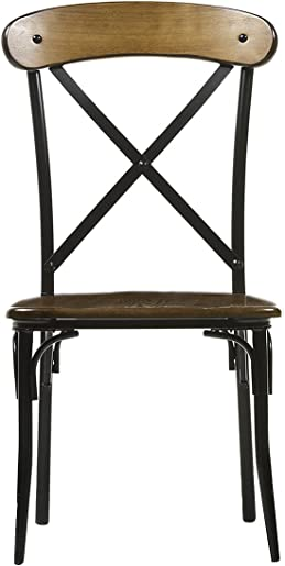 Baxton Studio Broxburn Light Brown Wood and Metal Dining Chair Set of 2