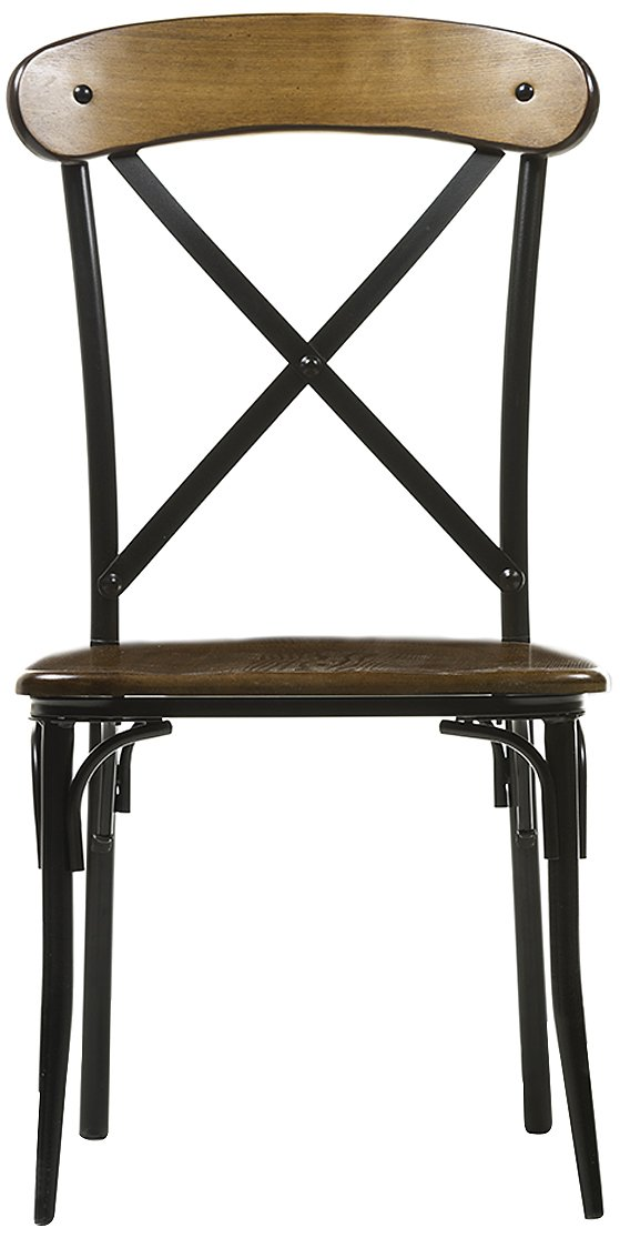Baxton Studio Broxburn Light Brown Wood and Metal Dining Chair (Set of 2)