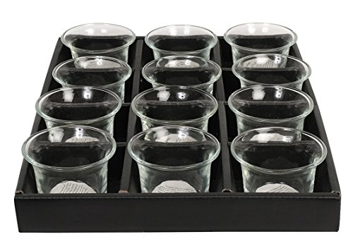Garden Votive Light Candle - Hosley Set of 12 Clear Glass Oyster Tea Light Holders - 2.5