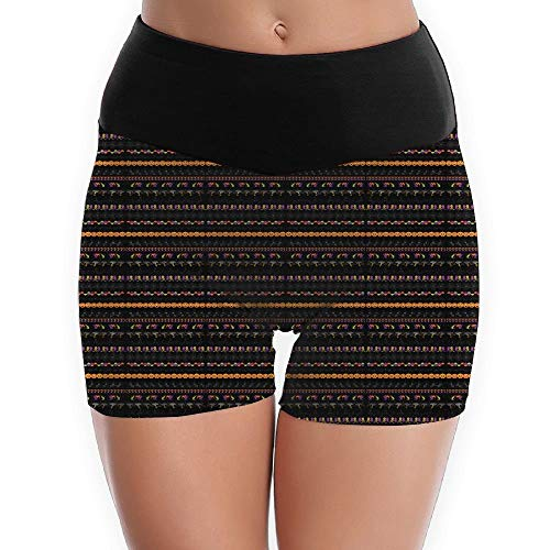 Halloween Borders Clip Art Women's Yoga Shorts Pants Running Shorts Slim Fit