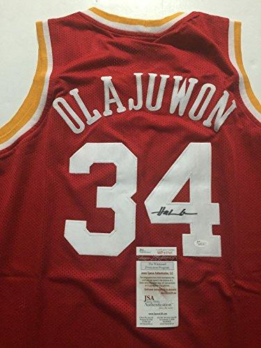 Autographed/Signed Hakeem Olajuwon Houston Red Basketball Jersey JSA COA