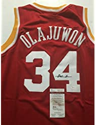 659135894ed Autographed Signed Hakeem Olajuwon Houston Red Basketball Jersey JSA COA