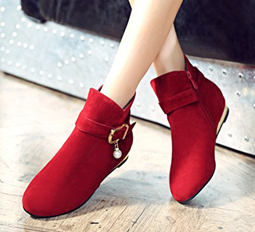 Zipper Women's Beaded Low Round Ankle Aisun Buckle Dress Toe Strap Shoes Side Cute Red Boots Heels Hwqzg