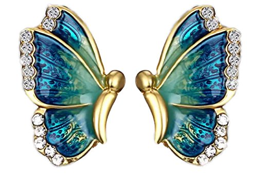 Butterfly Earings for Women Fashion Colorful Rainbow Gold Earrings for Girls Blue White Cubic Zirconia - Butterfly Rainbow Necklace