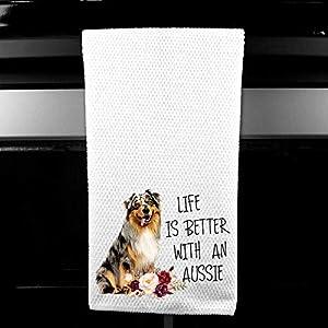 Live is Better with an Aussie, Australian Shepherd Microfiber Kitchen Tea Bar Towel Gift for Animal Dog Lover 6