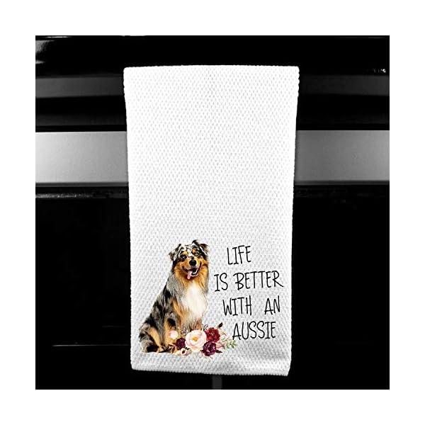 Live is Better with an Aussie, Australian Shepherd Microfiber Kitchen Tea Bar Towel Gift for Animal Dog Lover 1