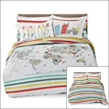 Where The Polka Dots Roam Full/Queen World Map Reversible Duvet Cover Set with 2 Pillowcases for Kid Bedding by (L 90in x W 92in)