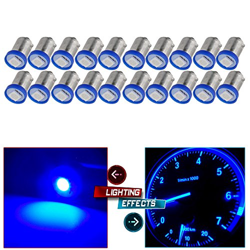 cciyu 20X BA9S LED SMD 1895 DASH INSTRUMENT PANEL CLUSTER Ash Tray Light Bulbs 1815 1816 182 1889 1891 1892 For Instrument panel Glove box License plate Boat cabin lamp Blue (blue) by CCIYU