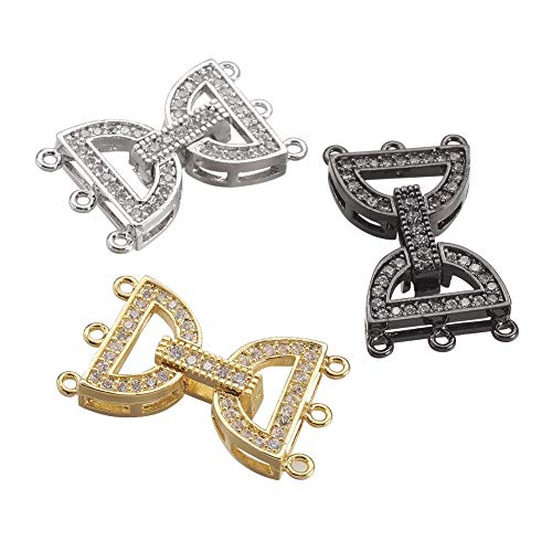 ARRICRAFT 5 Sets Rhinestone Watch Band Clasps Jewelry Connector Clasp for Bracelet Jewelry Making