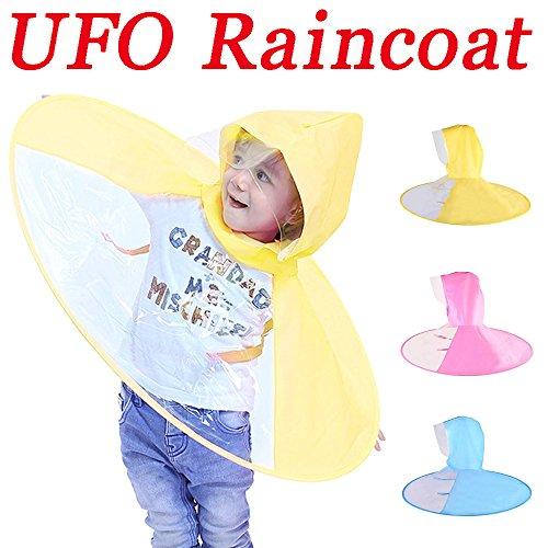 Sujing Children Raincoat UFO Umbrella Novelty Headwear Cap Hat Rainwear Hands Free Raincoat UFO Waterproof Hands Free Umbrella Rain Hat Headwear Cap Raincoat (Yellow, One size) (Yellow Jackets Beach Towel)