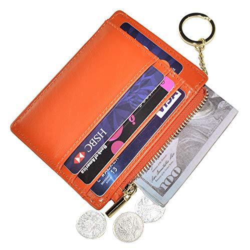 Womens Slim RFID Credit Card Holder Mini Front Pocket Wallet Coin Purse Keychain (Oil Orange) -