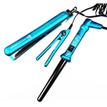 Herstyler Silk Touch Teal Color 3 Piece Curling Iron Wand+ Flat Iron Straightener+mini