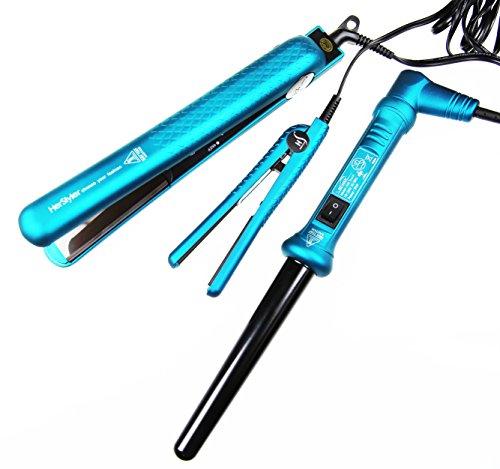 "HerStyler Silk Ceramic Touch Set - 1.5"" Ceramic Flat Iron, Mini Hair Straightener and 3/4"