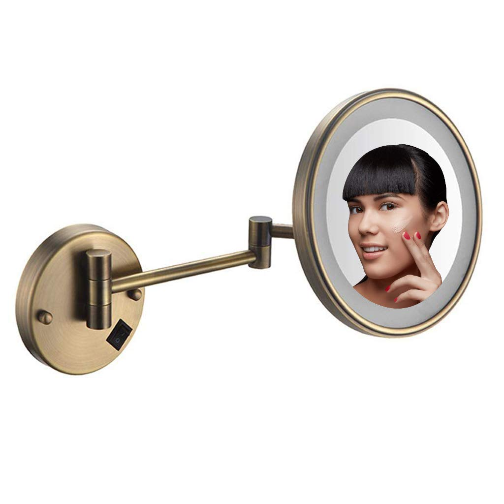 Makeup Mirror Wall Mount with Lights and Magnification, 8 inch LED, Bathroom Shaving Mirror Wall Mounted, Luminated 5X Magnification Single Side Round Vanity Mirror,Archaize by Makeup Mirror