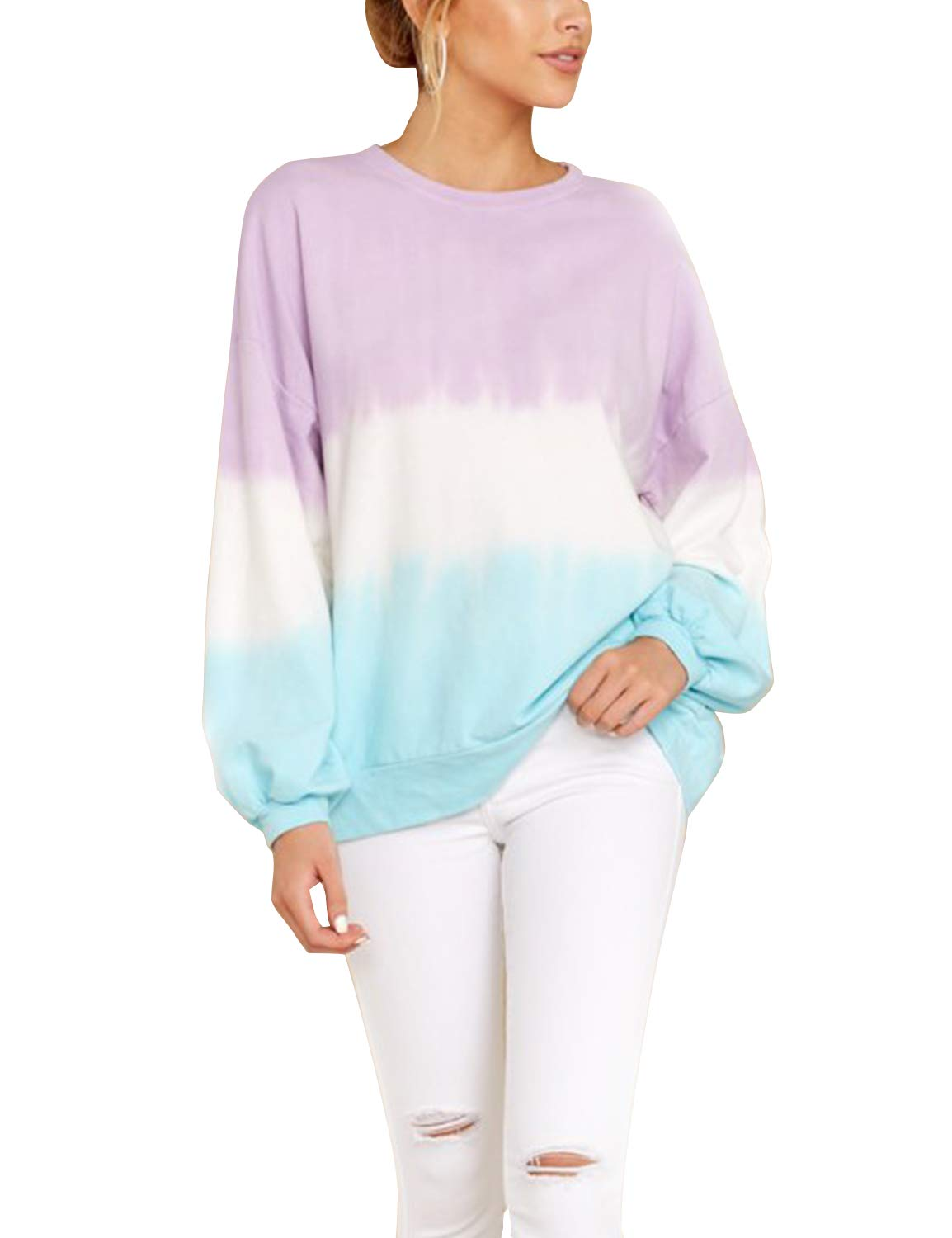 Blooming Jelly Womens Long Sleeve Gradient Tie Dye Pullover Sweatshirt Hoodies
