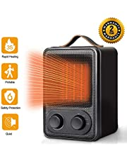 Electric PTC Ceramic Space Heater with Over-Heat & Tilt Protection, Personal Heater Fan with Warm/Natural Wind, Quiet & Portable for Office and Home Use