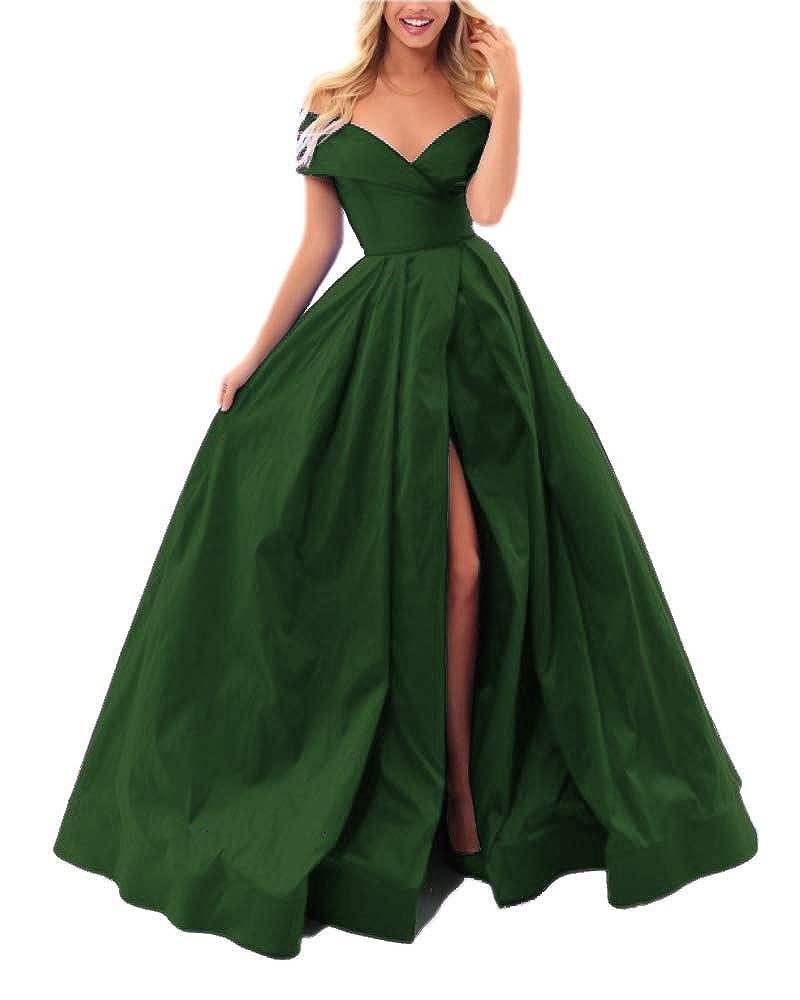 Emrald Green Sweet Bridal Women's Off The Shoulder Slit Taffeta Ball Gown Prom Dresses