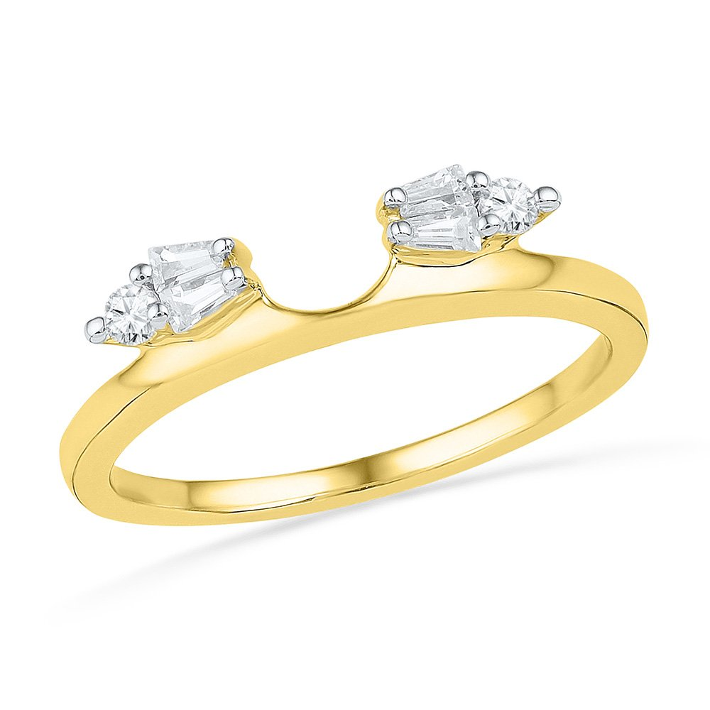 14kt Yellow Gold Womens Baguette Diamond Ring Guard Wrap Solitaire Enhancer 1/5 Cttw