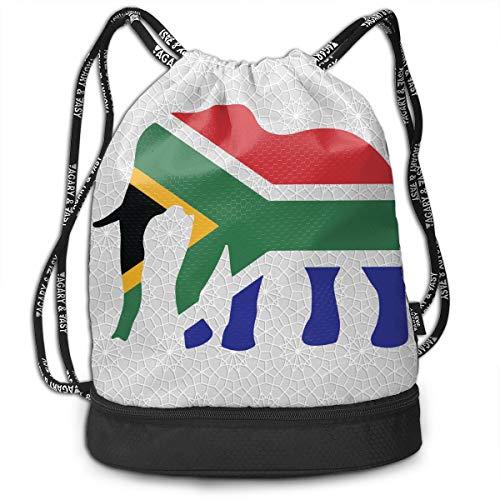 Elephant South Africa Flag Drawstring Bag Multifunctional String Backpack Custom Cinch Backpack Sport Gym Sack